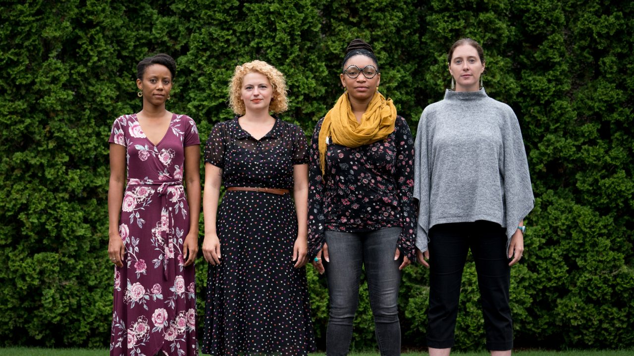 Interpreters of the Hirshhorn's 2018 presentation of This You by Tino Sehgal (left–right): Jahnel Daliya Slowikowski, Sadie Leigh, Briona Jackson, Lara Supan.