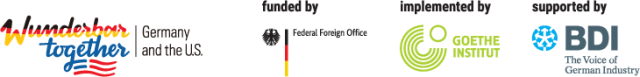 Wunderbar together logo, funded by federal foreign office, implemented by goethe institut, supported by BDI the voice of German Industry