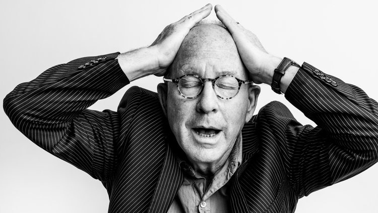 Black and white portrait of Jerry Saltz