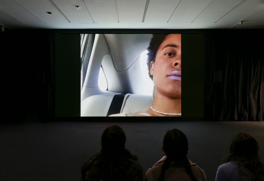 """Installation view of Arthur Jafa, """"Love is the Message, The Message is Death,"""" 2016 in """"The Message: New Media Works"""" at the Hirshhorn Museum and Sculpture Garden, 2017. Courtesy of Arthur Jafa and Gavin Brown's enterprise, New York/ Rome. Photo: Cathy Carver"""