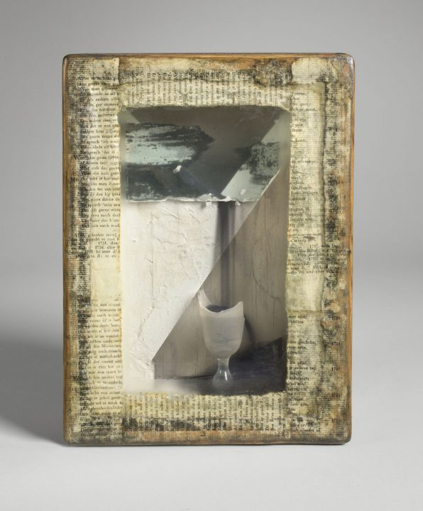 Joseph Cornell; (c. 1957-1959); Gesso, oil, photomechanical reproductions, sand, mirror glass, drinking glass, a; 10 7/8 x 8 x 3 1/2 in. (27.6 x 20.3 x 8.9 cm); Gift of Joseph H. Hirshhorn, 1966