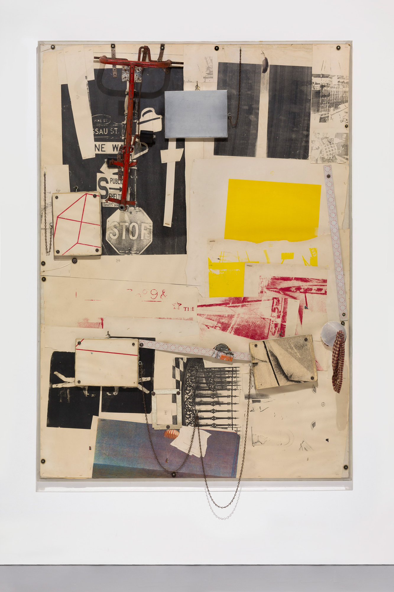 Fossil for Bob Morris, Robert Rauschenberg, 1965. Paper, metal, plastic, rubber, and fabric on canvas, 84 × 60 × 9 in. (213.4 × 152.4 × 22.9 cm)