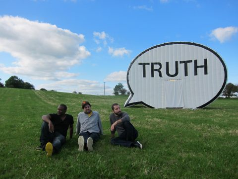 In Search of the Truth (The Truth Booth) by Ryan Alexiev, Hank Willis Thomas, Jim Ricks, Jorge Sanchez, and Will Sylvester. Courtesy Cause Collective.