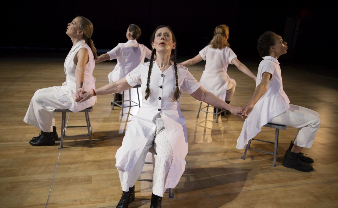 Meredith Monk and Vocal Ensemble (clockwise): Meredith Monk, Katie Gessinger, Ellen Fisher, Allison Sniffin, and Jo Stewart. Photo by Julieta Cervantes