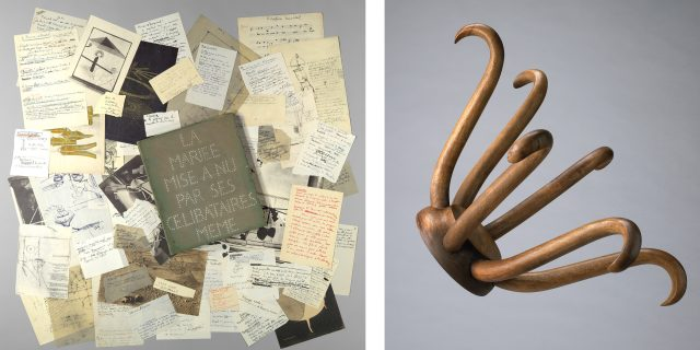 """Left: Marcel Duchamp, """"The Bride Stripped Bare of Her Bachelors, Even (The Green Box),"""" 1934. Box containing collotype reproductions on various papers. Edition 1 of 300. Image copyright © The Metropolitan Museum of Art. Image source: Art Resource, NY. © Association Marcel Duchamp / ADAGP, Paris / Artists Rights Society (ARS), New York 2018 Right: Marcel Duchamp, """"Porte Chapeau (Hat Rack),"""" Conceived in 1917/Executed in 1964. Edition: 5/8 + 3 Aps. Photo: National Gallery of Canada. © Association Marcel Duchamp / ADAGP, Paris / Artists Rights Society (ARS), New York 2018"""