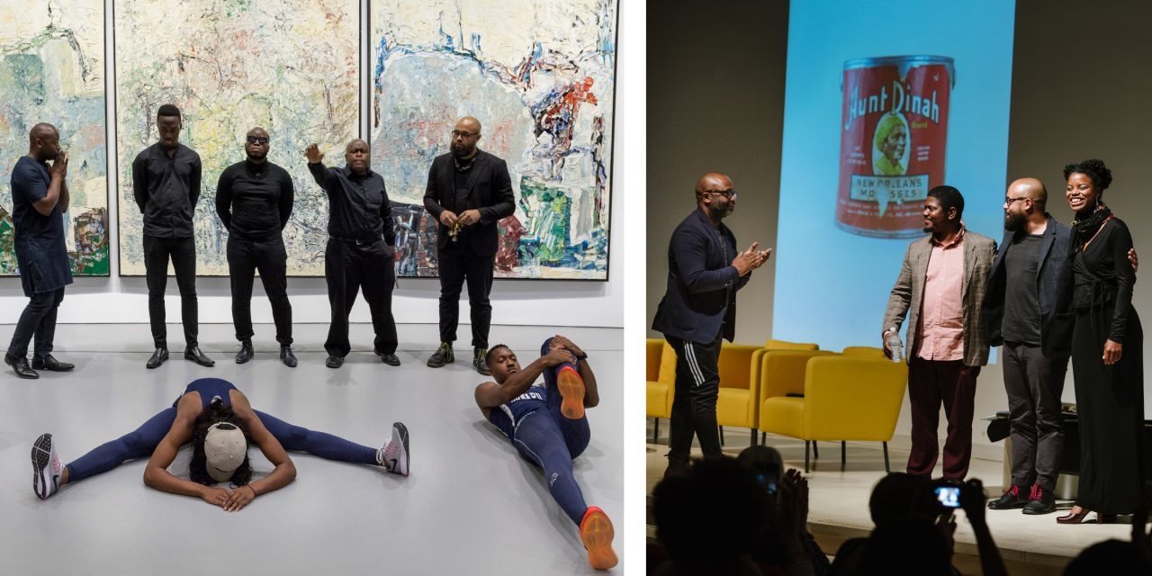 "Image (left): Theaster Gates, ""The Runners,"" part of the ""Processions"" series, September 21, 2016. Image (right): Theaster Gates, ""Plantation Lullabies,"" part of the ""Processions"" series, October 13, 2017."
