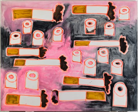 Katherine Bernhardt, Toilet paper and cigarettes black and pink, 2016 Acrylic and spray paint on canvas 96 x 120 inches Image courtesy of the artist and CANADA. Photography by Jason Mandella.