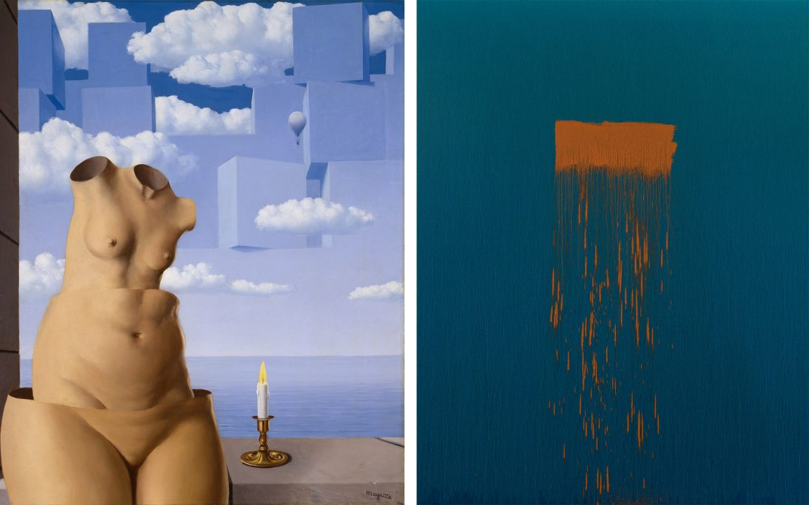 Left: René Magritte, Delusions of Grandeur II, 1948 Hirshhorn Museum and Sculpture Garden, Smithsonian Institution, Washington, DC Gift of Joseph H. Hirshhorn, 1966 Right: Pat Steir Twenty, 2018–19 One of 30 paintings from the exhibition Color Wheel at the Hirshhorn Museum and Sculpture Garden Oil on canvas 108 × 84 inches Photo: Alex Munro. Courtesy of Pat Steir and Lévy Gorvy