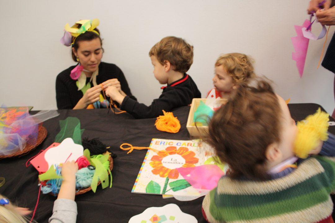 Children crafting flowers