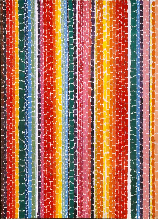 Vertical rows of irregular rectangles, as if they were torn paper, fill the canvas. Each row of rectangles is its own color. We see warm red, orange, yellow, and pink with accent rows of greens, blues, black, and brown.