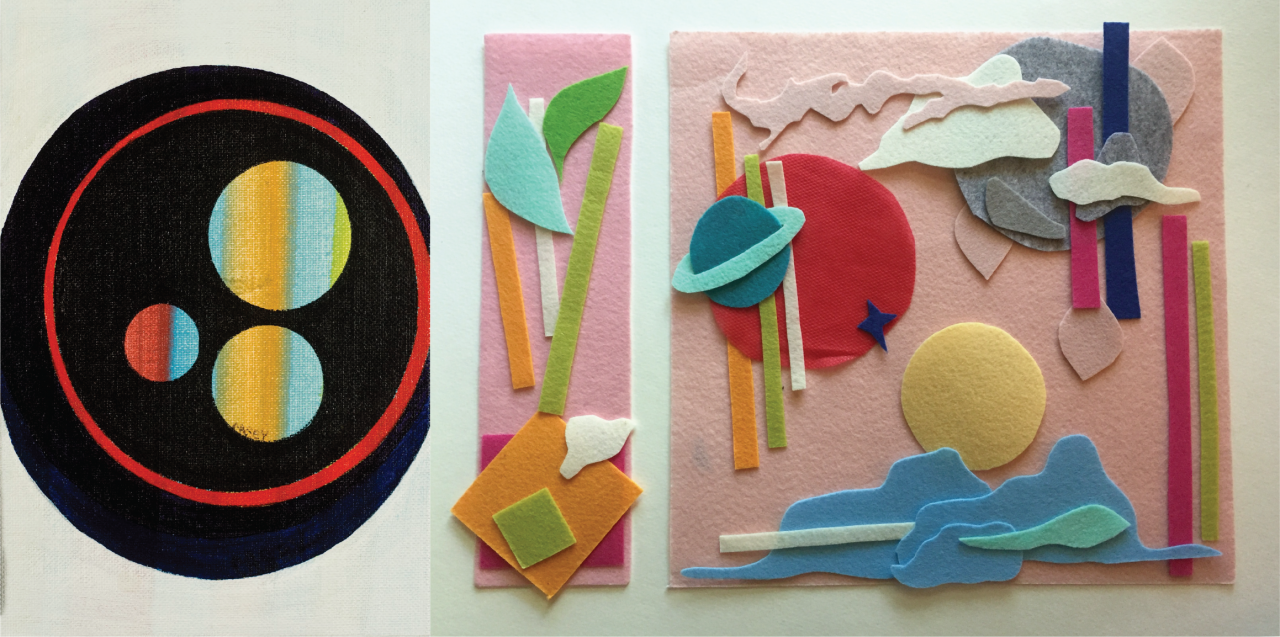 Left: a large, black circle encompasses a thin red ring with three blue and yellow striped circles inside. Right: pieces of felt in different shapes, including clouds and planets, heavily layered on top of each other and placed on a pink felt board.