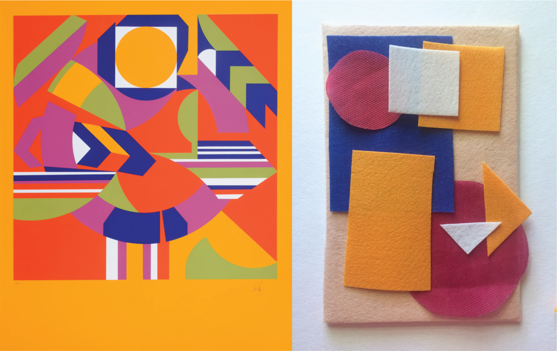 Left: a screenprint of multicolored, geometric shapes in bright orange, green, purple, and blue against a mustard yellow background. Right: square, circular, and triangular pieces of felt in orange, red, and blue on a beige felt board.