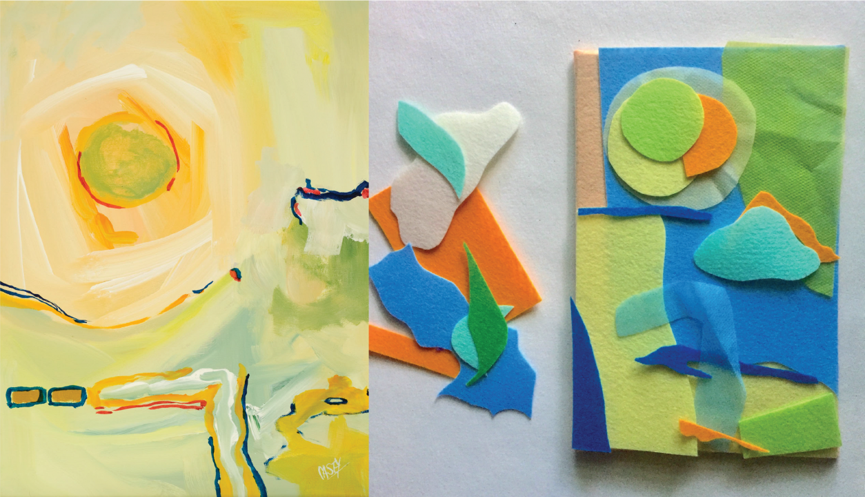 Left: loose brushstrokes of white, yellow, blue, and green paint flow around the canvas, blending into each other and the soft beige background. Right: multicolored, geometric pieces of felt overlapping each other and placed on a beige felt board.