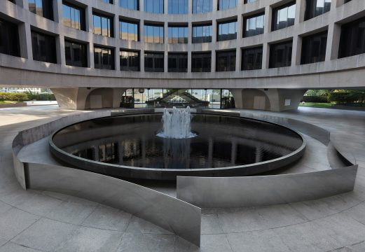 Metal sculpture surrounds the Hirshhorn's fountain in the plaza.