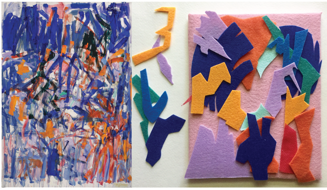 Left: Energetic lines of deep purple, orange, red, and black paint layered messily over each other. Right: multicolored felt cut into jagged shapes, layered and arranged on a pink felt board.