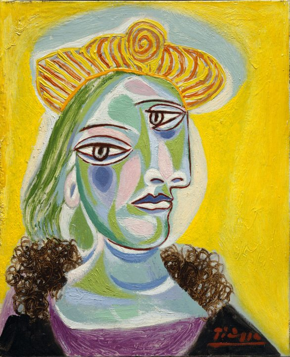 Cubist painting of the artist's friend against a bright yellow background, her face painted in shades of blue, green, and pink, wearing a yellow hat with orange stripes.