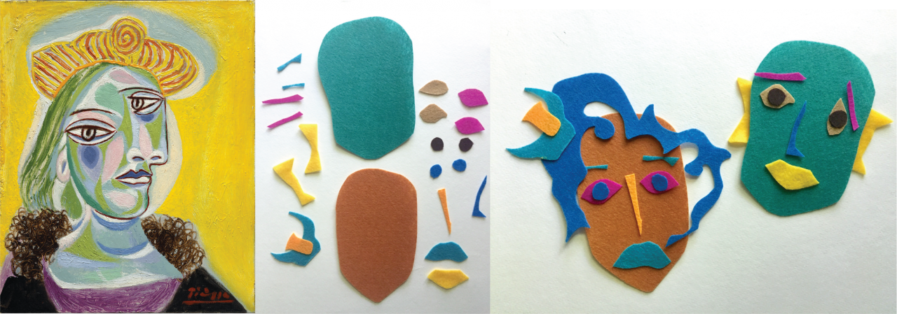 Left: Cubist painting of a woman against a bright yellow background, her face painted in shades of blue, green, and pink, wearing a yellow hat with orange stripes. Center: two oval pieces of teal and brown felt lie between multicolored pieces of felt cut into the shapes of facial features. Right: multicolored felt facial features arranged onto the teal and brown ovals to create abstract faces.