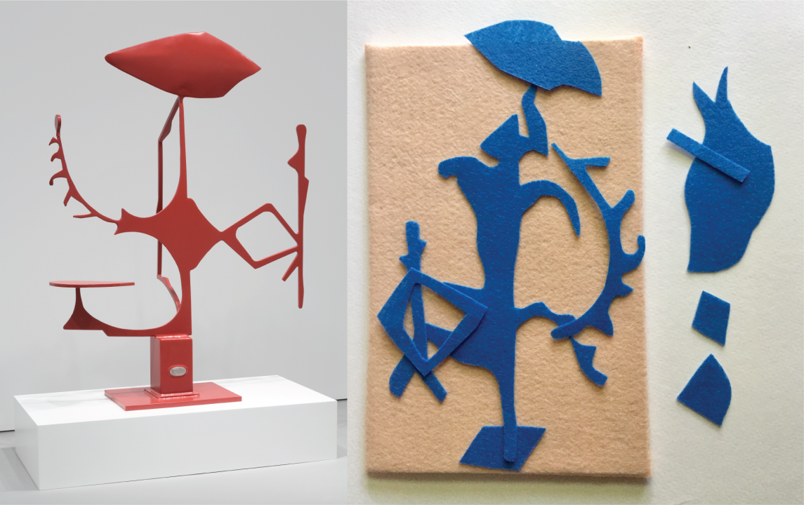 Left: a tall, thin, metal sculpture painted red with varied angular forms protruding from its center. Right: geometric pieces of blue felt arranged on a beige felt board, a few pieces lie off the board to the side.