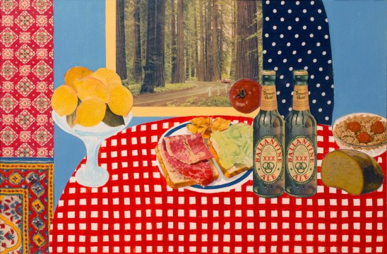 A collaged still life with cutouts of lemons, a sandwich, tomato, two bottles, bread, and cereal on a red checkered tablecloth.