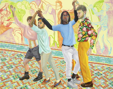 A painting of four men dancing in the street