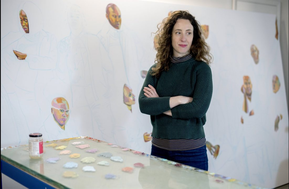 Aliza Nisenbaum with her artwork