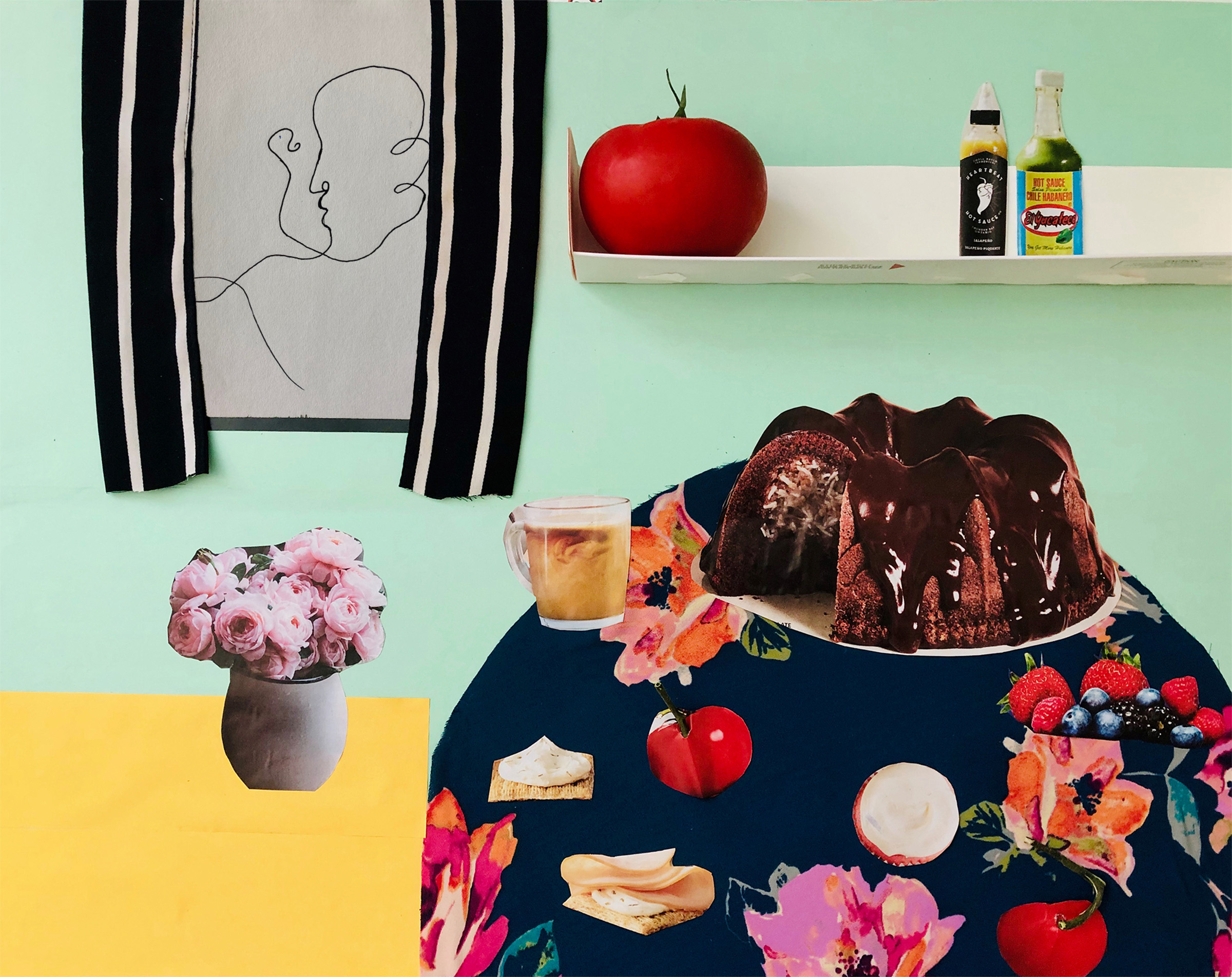 Collage of a kitchen scene including a table with a cake, tomatoes, and fruit, shelf with a tomato on it, window, and vase with pink flowers.