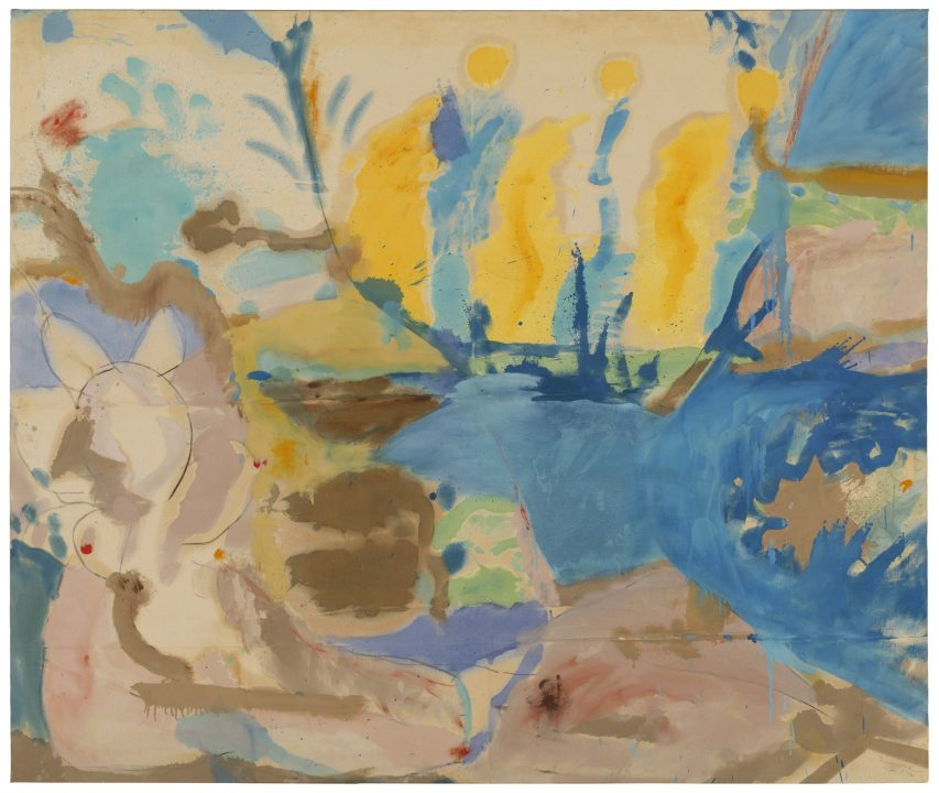 An abstracted beach scene on canvas with blue, yellow, and brown colors soaking the surface and bleeding into each other.