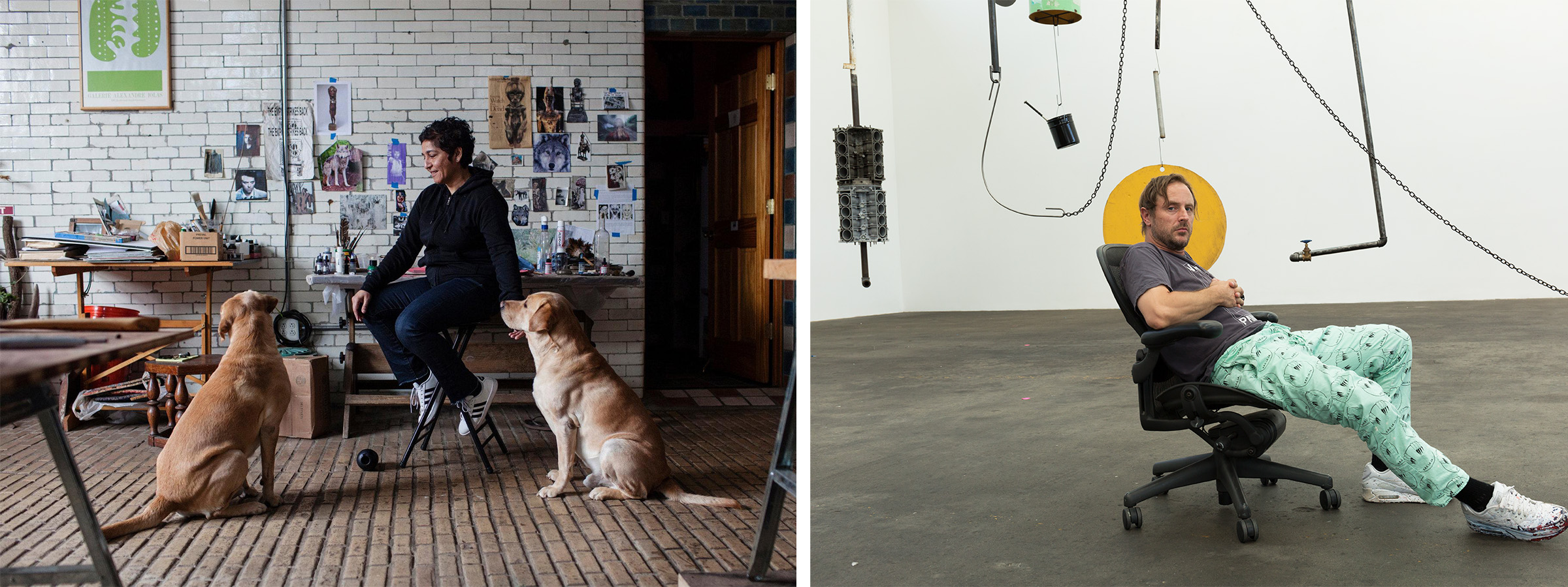 Images (left to right): Huma Bhabha in her studio; courtesy of Lauren Lancaster. Sterling Ruby in his studio; photo by Melanie Schiff; courtesy of Sterling Ruby Studio.