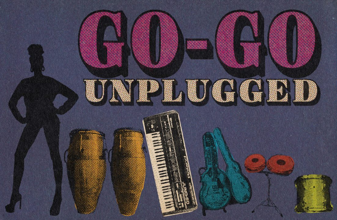 Female silhouette next to instruments with banner text saying Go-Go Unplugged