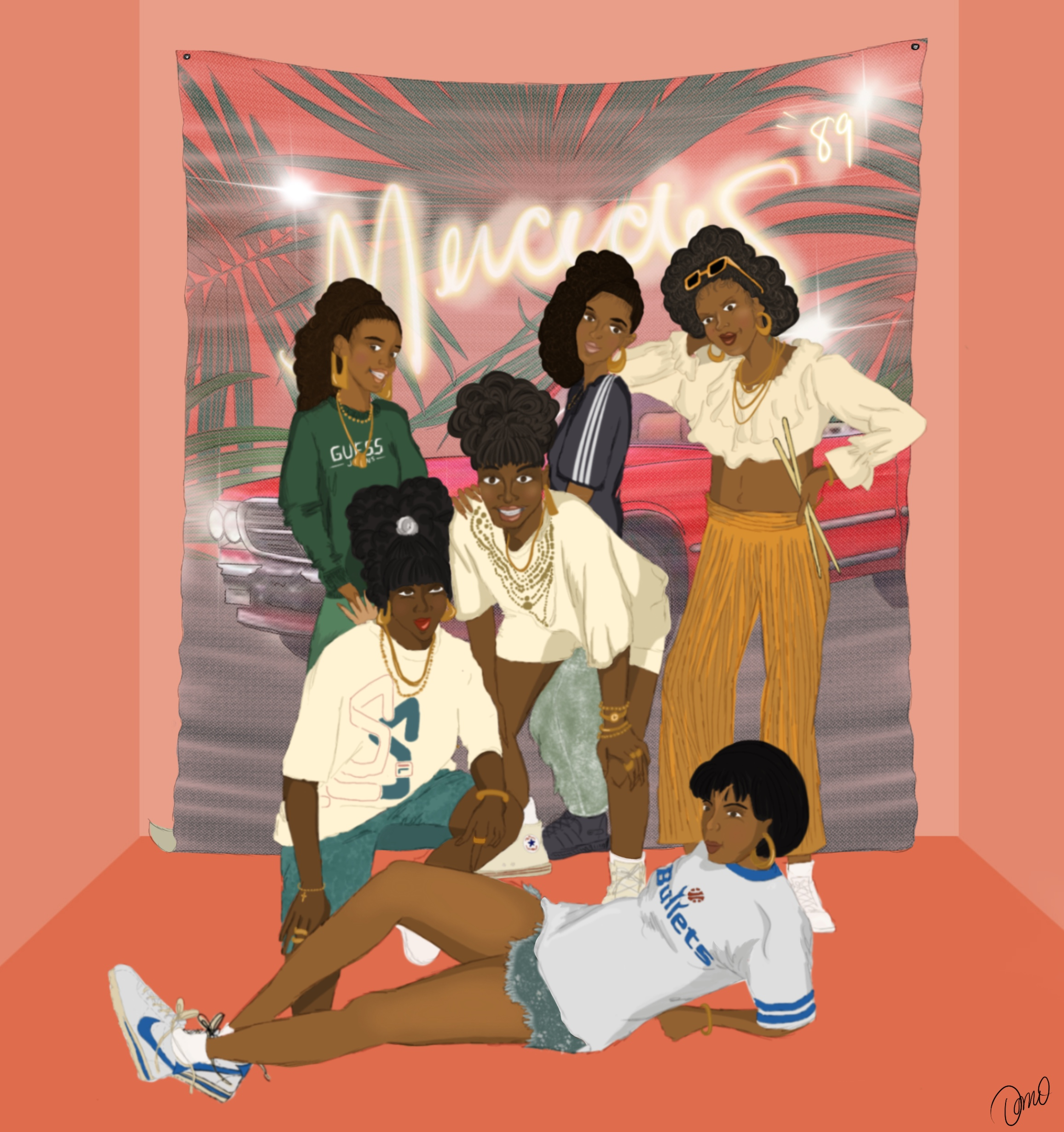 Digital drawing of 6 women posing together
