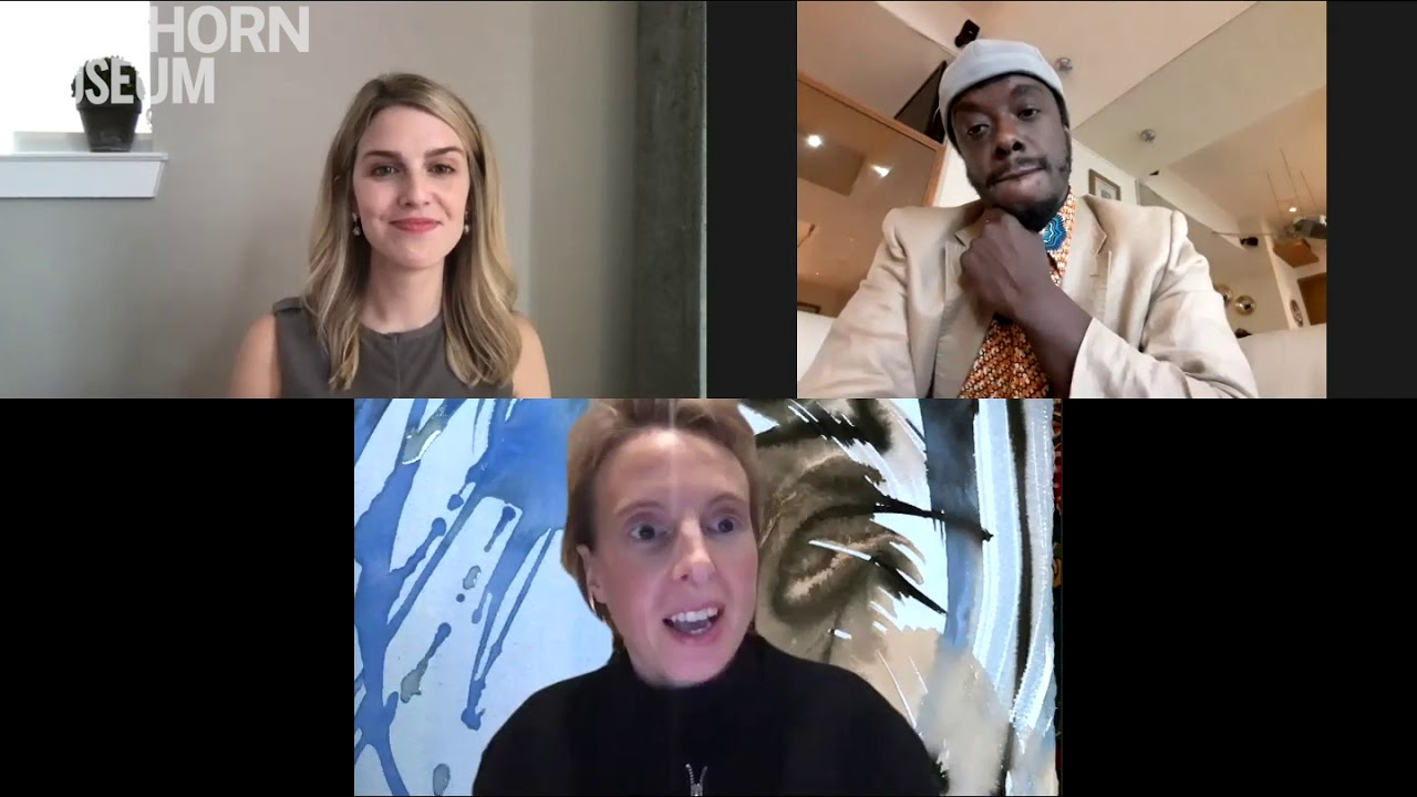 Curator Marina Isgro on zoom with artists Camille Henrot and Akwetey Orraca-Tetteh