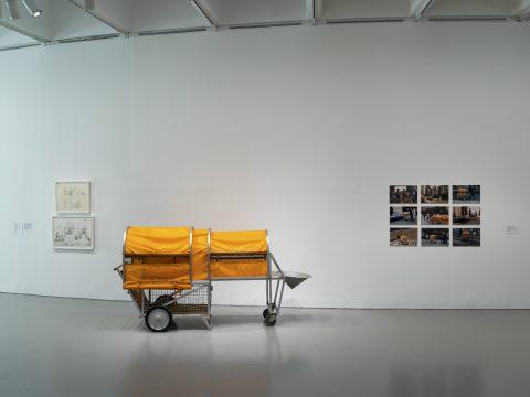 Photo of Krzysztof Wodiczko's Homeless Vehicle, Variant 5 installed in Manifesto: Art x Agency