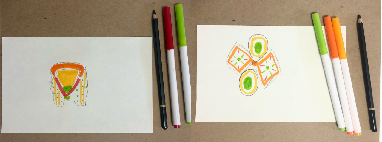 Two side-by-side drawings featuring geometric structures. The drawings have red, green, yellow, and orange colors, like the fall leaves they are meant to hold.
