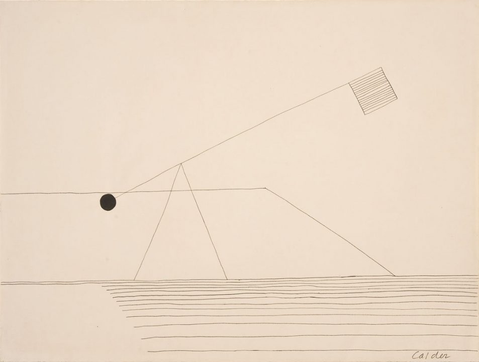 Pencil drawing of a sculpture. A triangular base balances an arm extending upward at a 45 degree angle. One end of the arm has a knob-like circle; the other end displays a flag-like square.