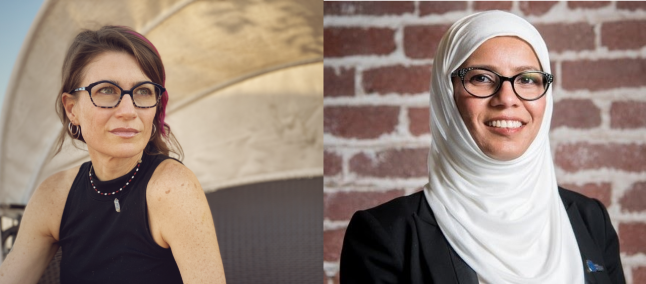 Two headshots of the respective artists: Nancy Baker Cahill and Kavya Pearlman