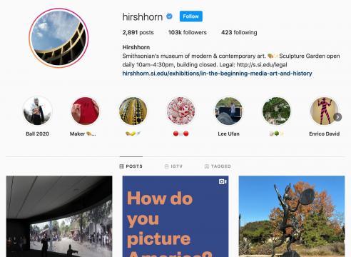 Screenshot of Hirshhorn Instagram