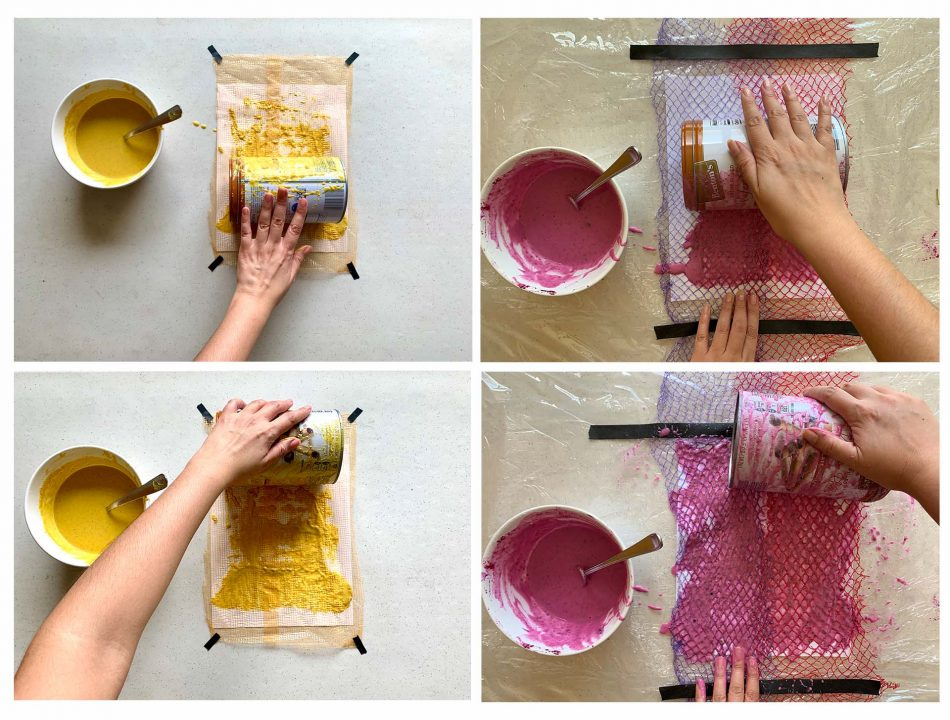 An arrangement of four images showing the process of applying paint by rolling a tin can over the netting-lined paper.