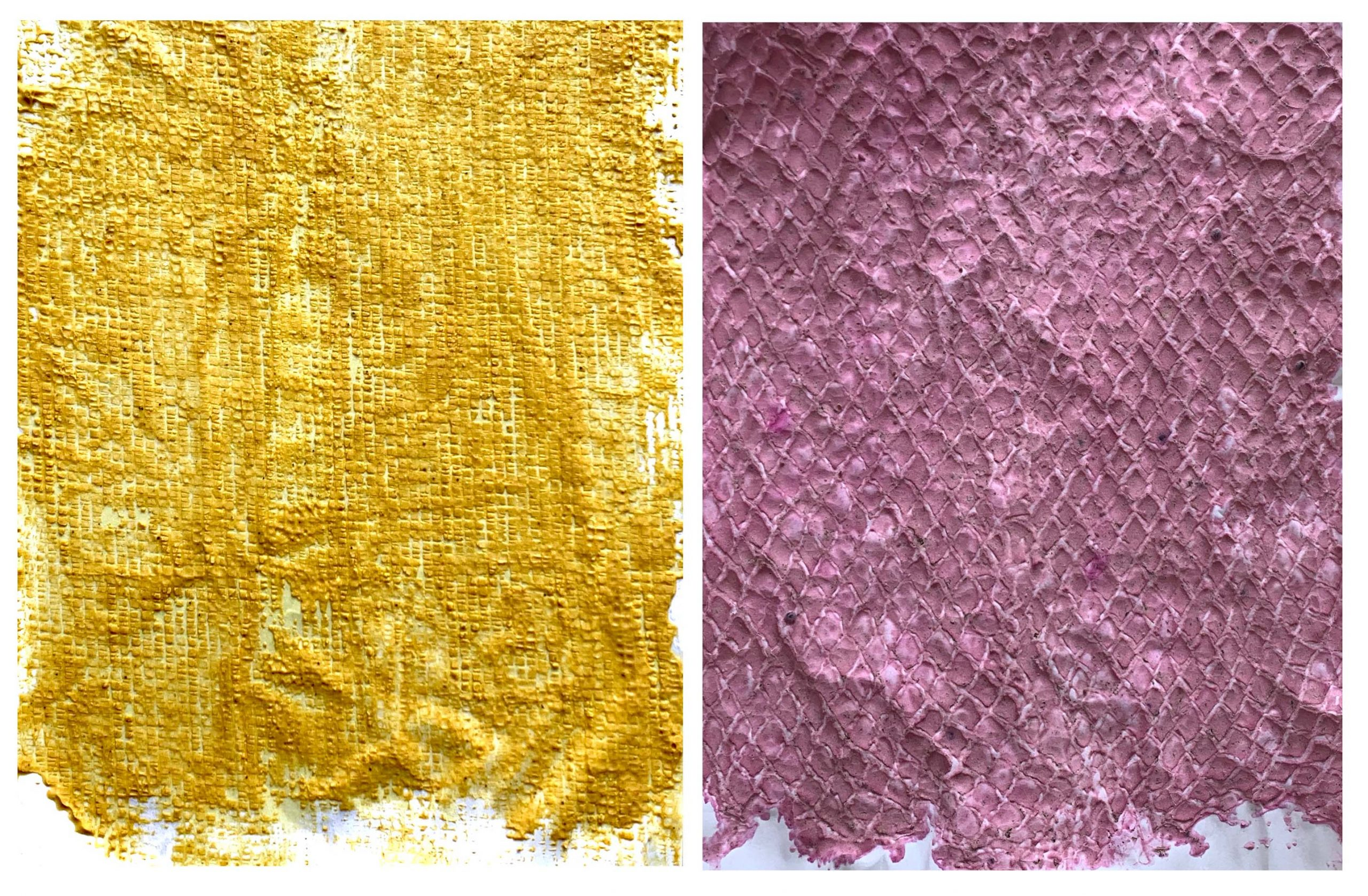 On the left is a mustard yellow textured print; on the right is a magenta textured print.