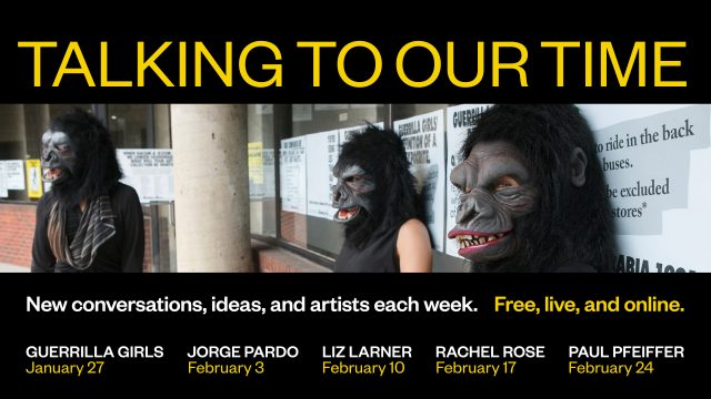 """Text reads """"Talking to Our Time..."""" Image of 3 individuals in gorilla masks"""