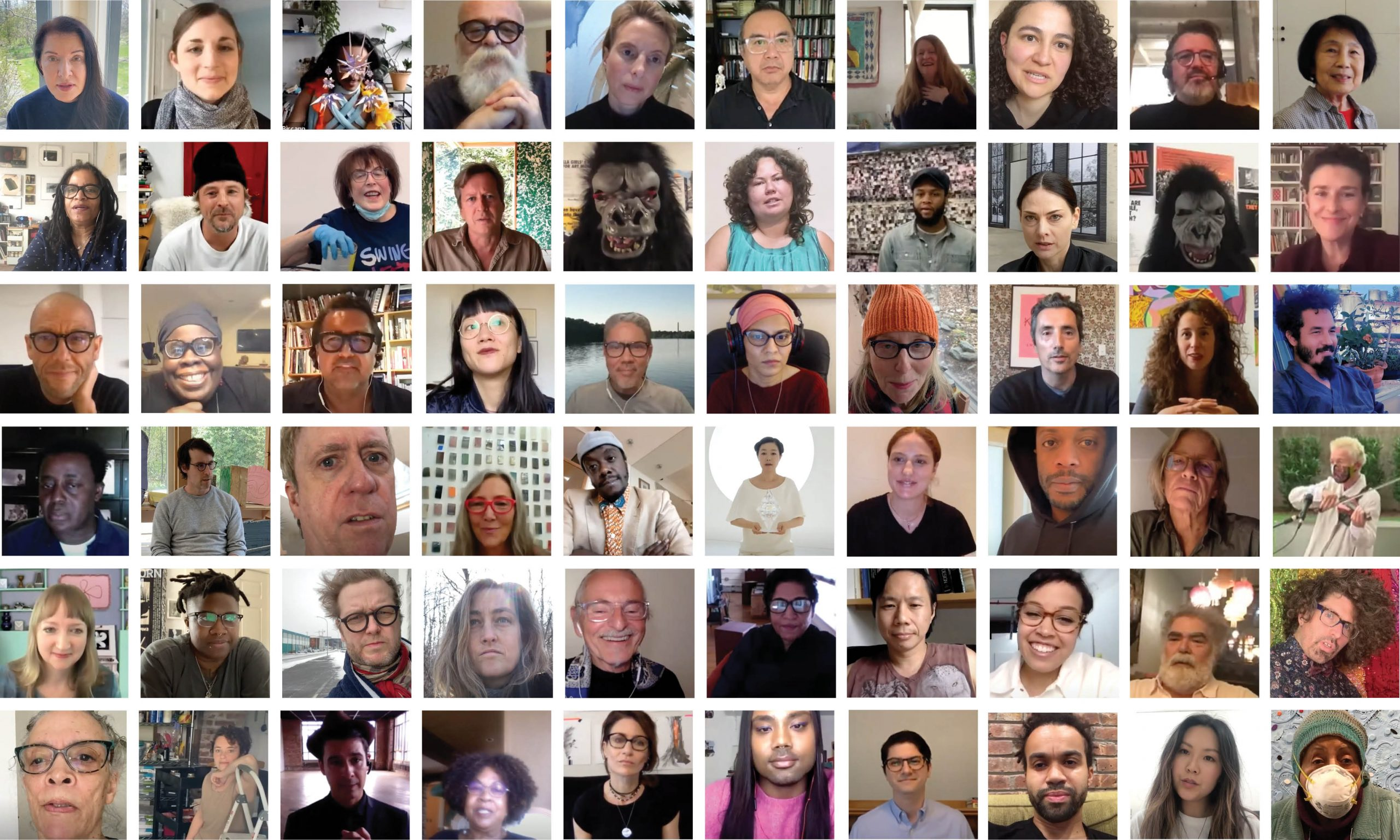 Grid of faces of artists