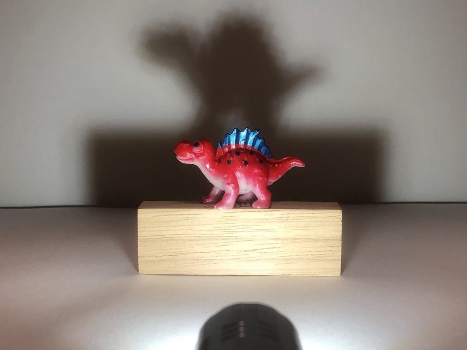 A red dinosaur toy stands atop a rectangular wood block. A flashlight points at the dinosaur, casting a large dark shadow on the wall behind it.