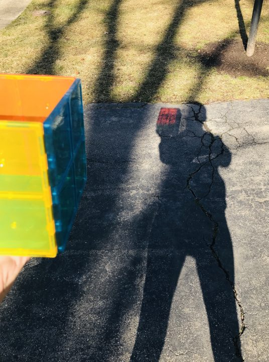 Shadows on a driveway and yard including a body and a tree's branches. In the foreground a hand holds a colorful cube. In the body's shadow, the cube is reflected in full color.