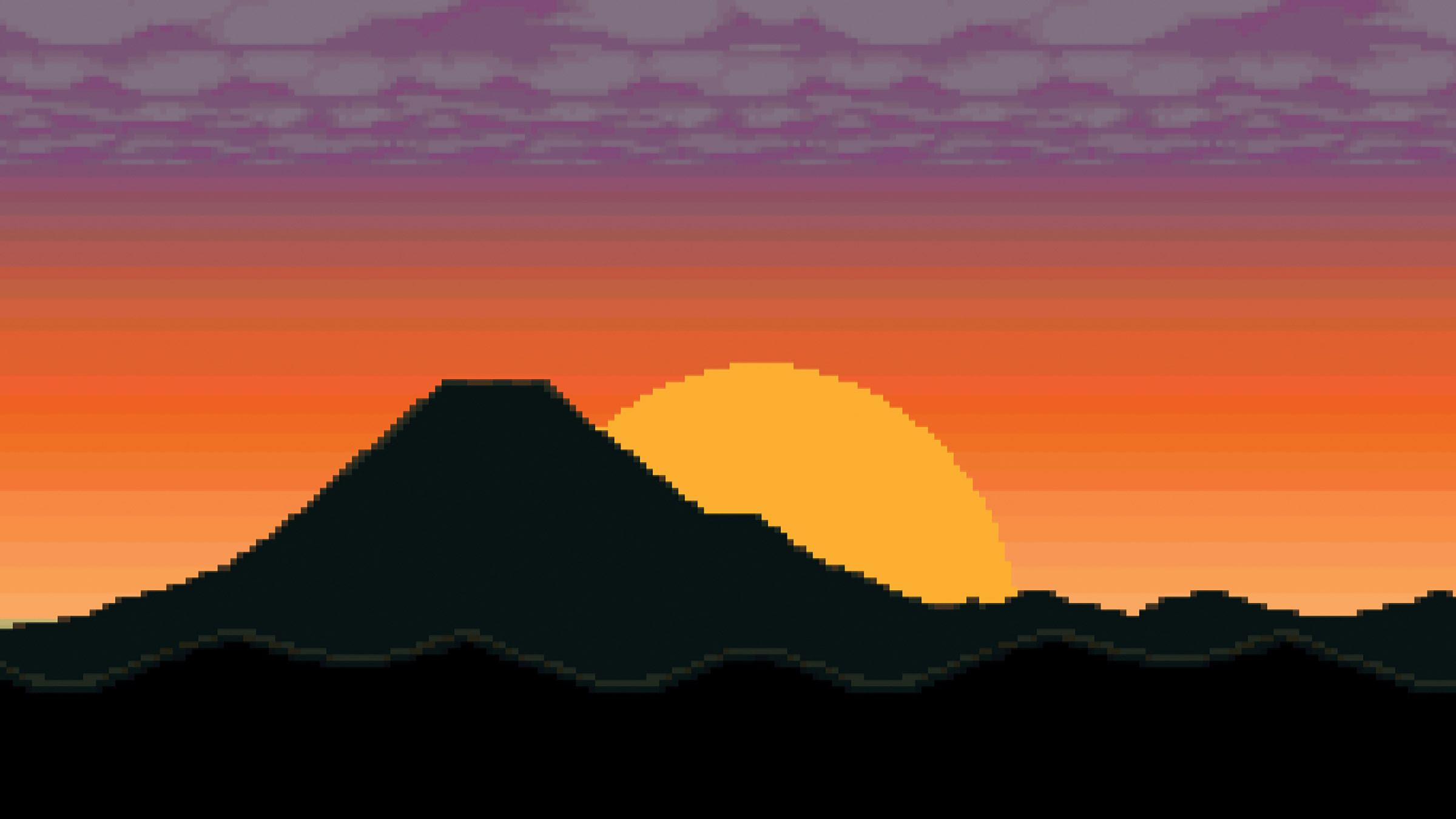 Pixel graphic of sun setting behind a mountain