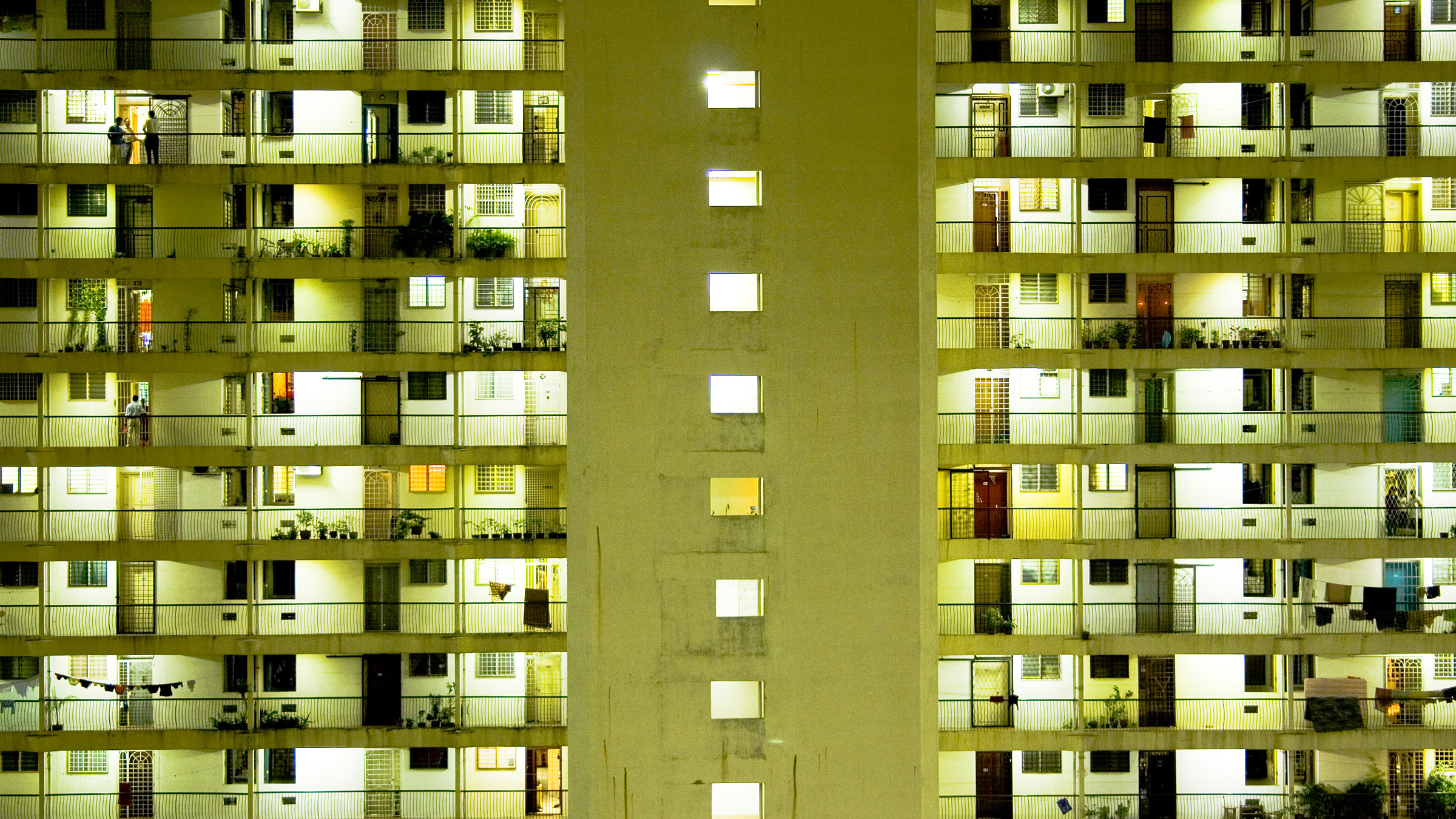 Night image of apartments
