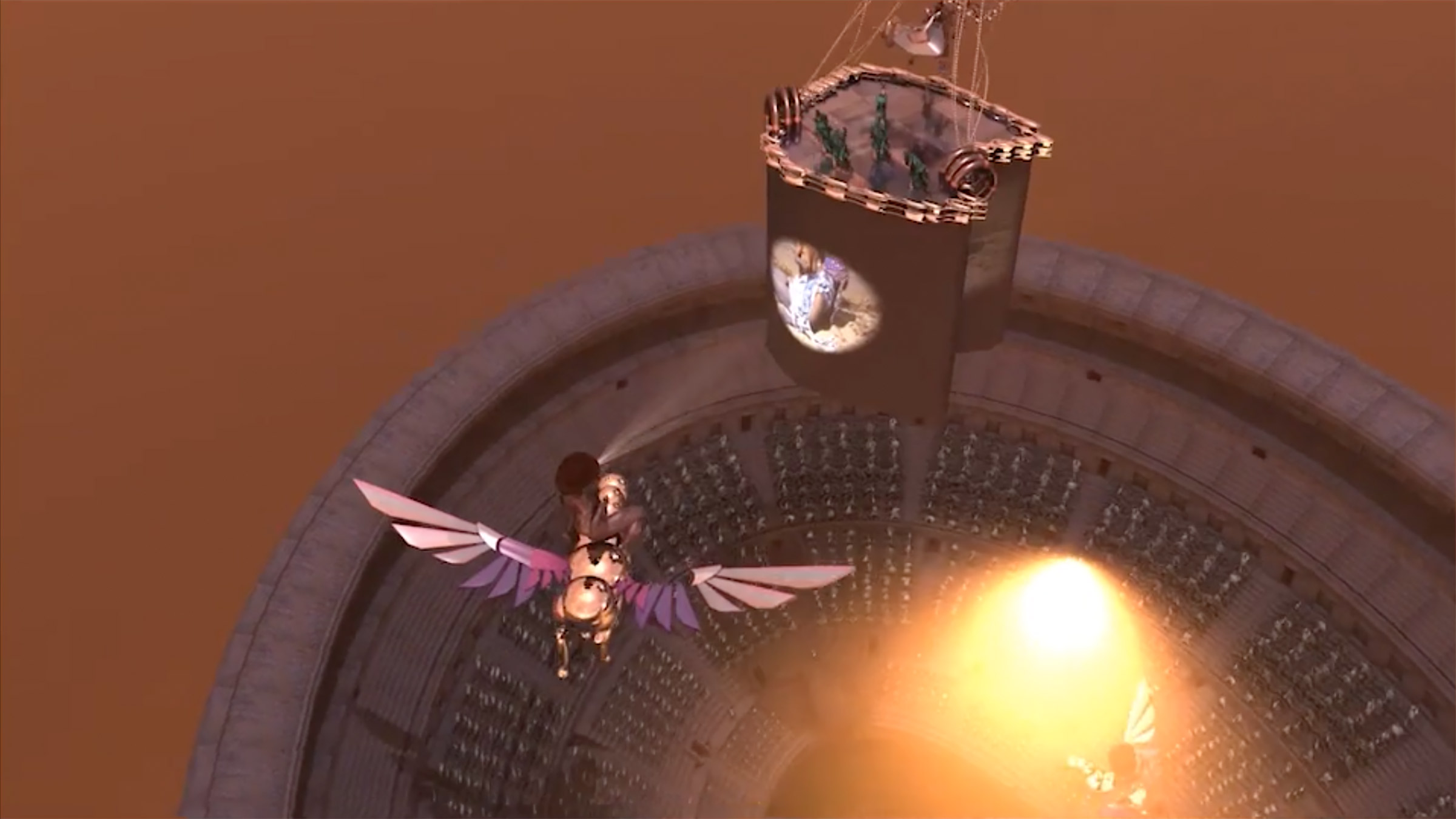 Computer generated screenshot of a unicorn flying over what looks to be a stadium. There is a woman riding the unicorn.