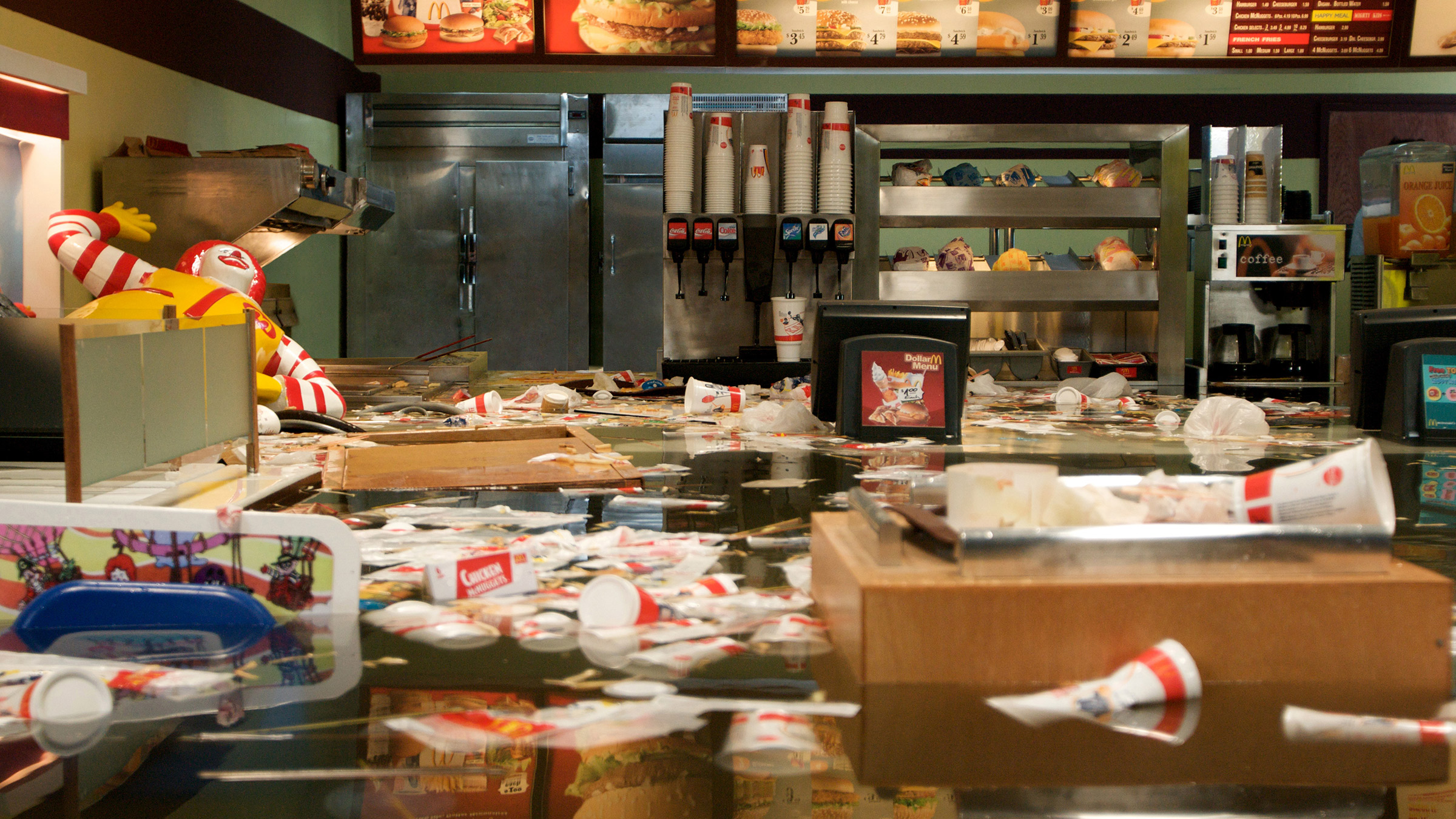 Chaotic messy scene in a McDonalds