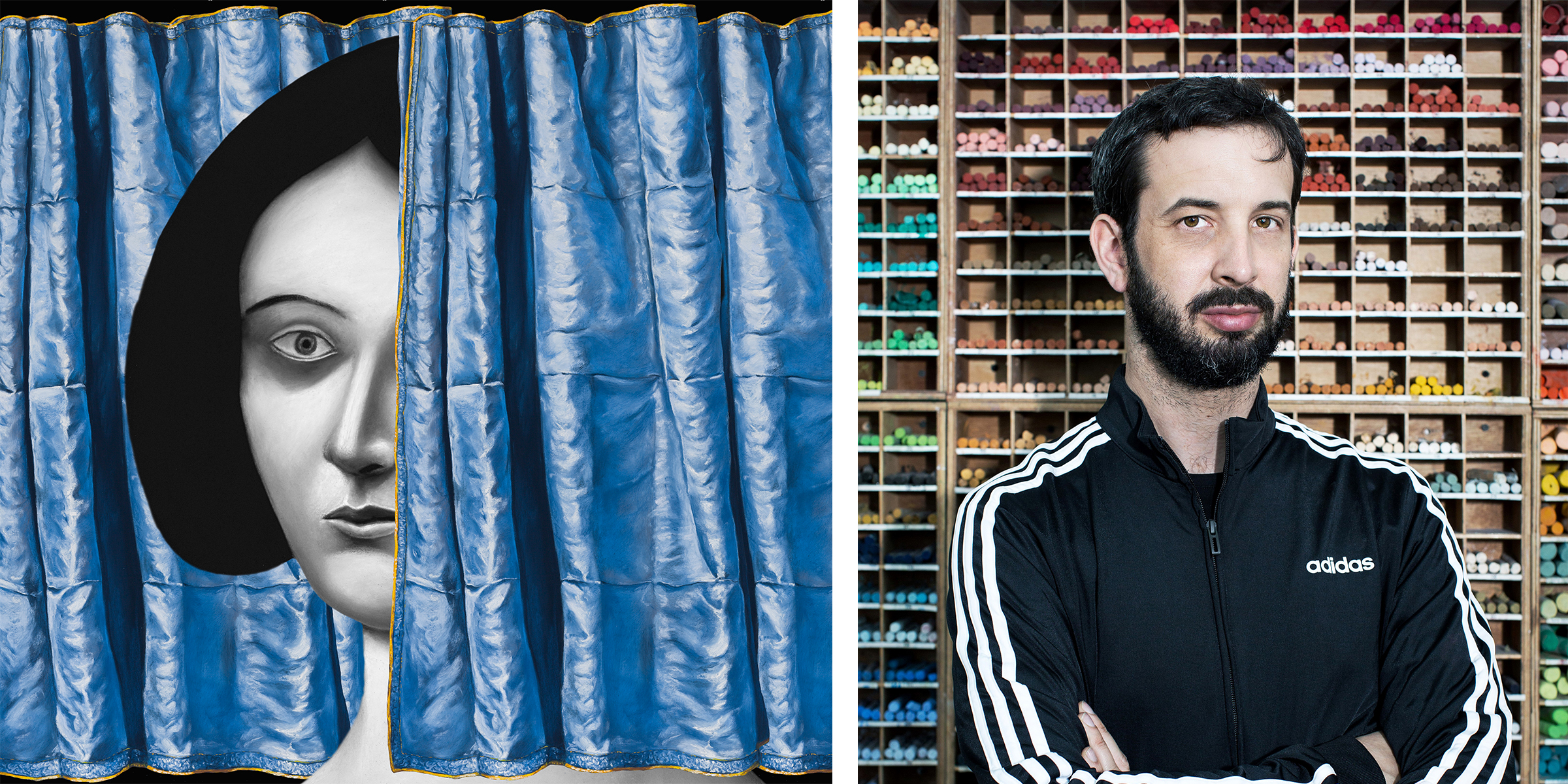 Left image: Detail of a painting. A woman's face peeks out behind a blue curtain. Right image: Portrait of Nicolas Party in front of a wall of stored pastels.