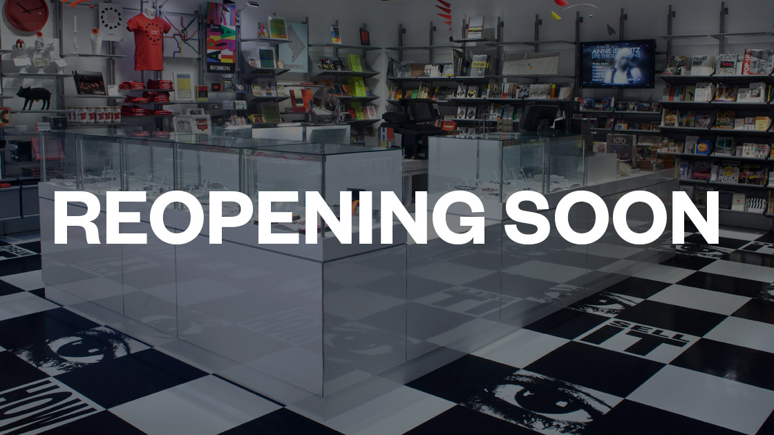museum store counter with text reopening soon overlaid