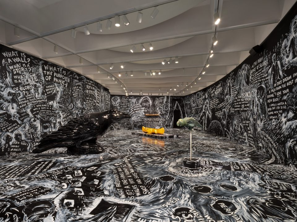 Laurie Anderson Four Talks Installation view from Laurie Anderson: The Weather at the Hirshhorn Museum and Sculpture Garden, Smithsonian Institution, Washington, DC, 2021. Courtesy of the artist Photo by Ron Blunt